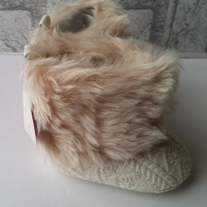 Cable Knit Faux Fur Top Baby Boots